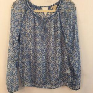 Lucky Brand Sheer Top L Floral Shirt Boho Blouse